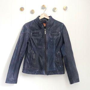 KORS Michael Kors Blue Leather Moto Jacket | S